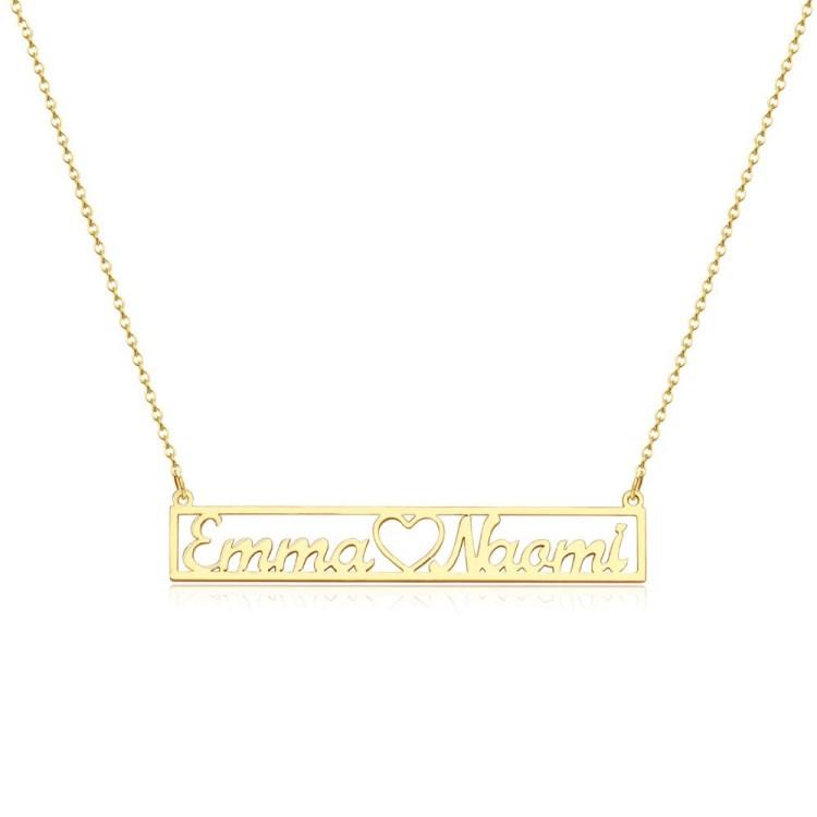 Bar Couple Name Necklaces