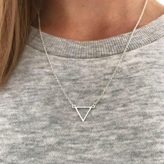 Minimalist Geometric triangle necklace for women fashion trendy simple collier bijoux collar joyeria