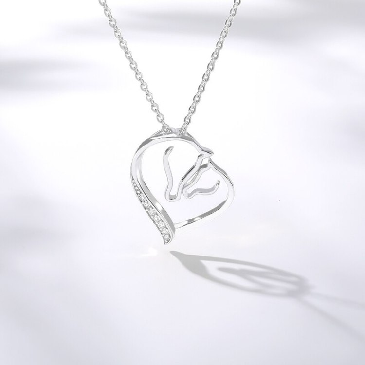 swarovski mothers day necklace with horse mom and kid