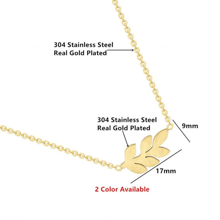 women fashion jewelry lover dimension of laurel leaf simple necklace