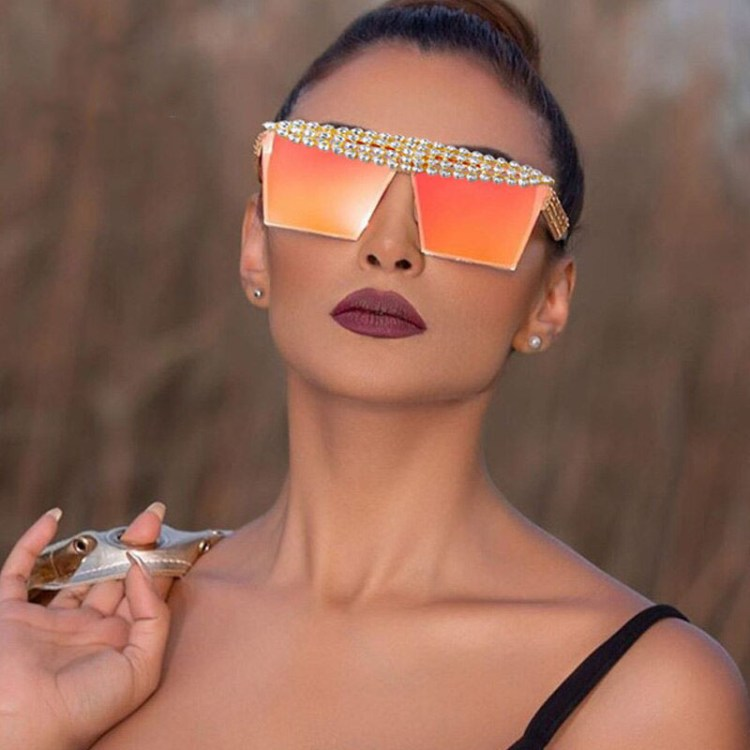 diamond inlaid colorful sparkling crystal top sunglasses for women fashion trends