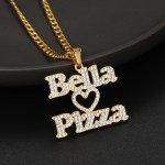 favorite food name necklace couple name heart personalized custom gold color