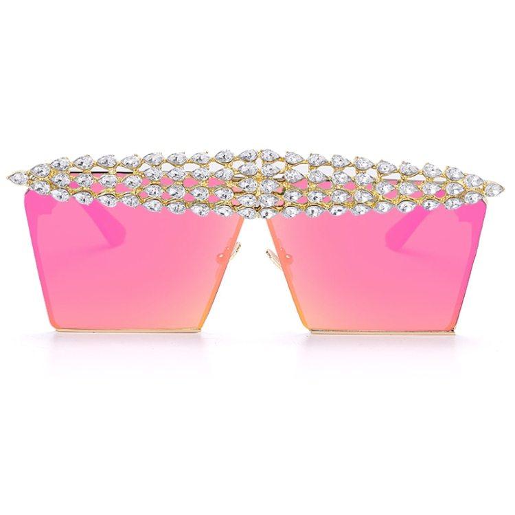 luxury fashion diamond rhinestones square sunglasses for women 2021 trendy fashion products sunglasses in hot pink color