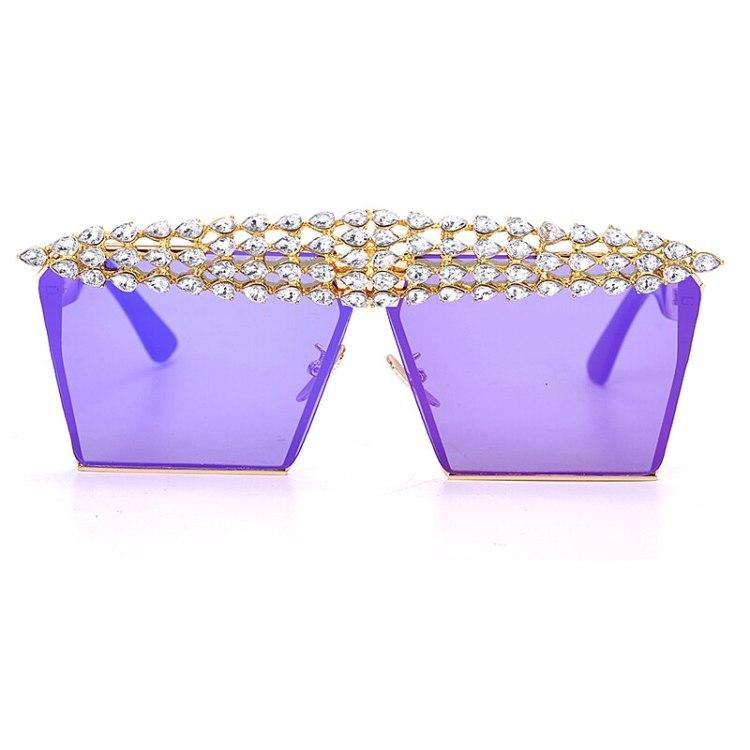 luxury fashion diamond rhinestones square sunglasses for women 2021 trendy fashion products sunglasses in purple color