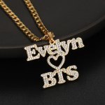 your favorite hip hop artist k pop BTS army gang fans name necklace crystal iced out personalized