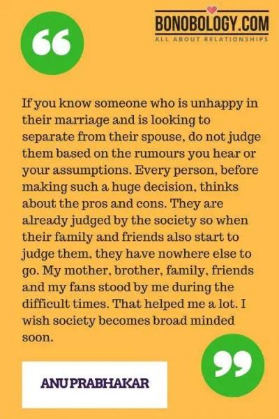 Anu Prabhakar Marriage Interview Quote