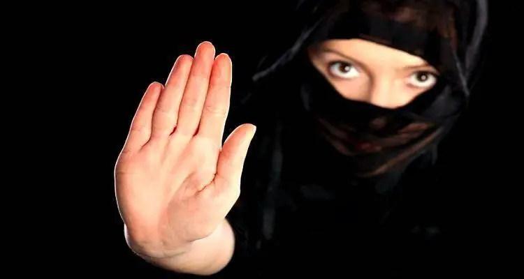 young woman in burqa