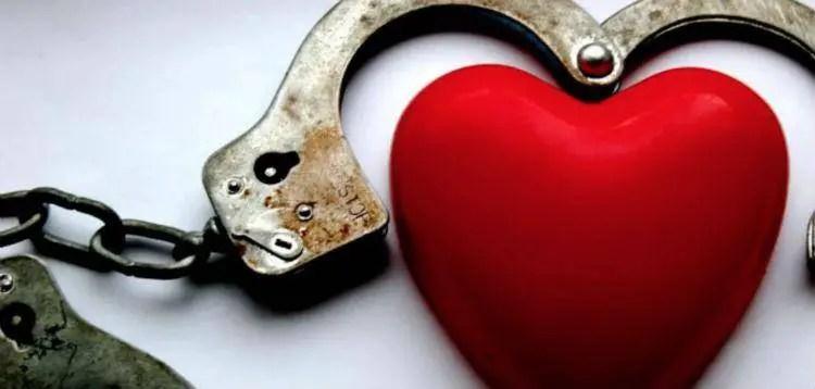 BDSM heart handcuffs