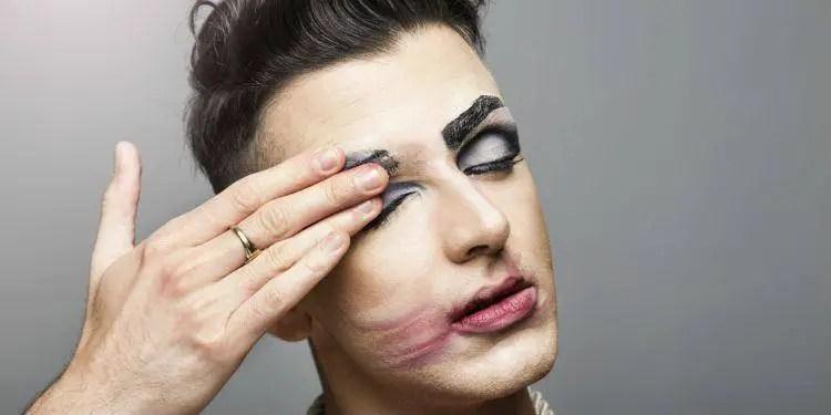 Gay man with make up