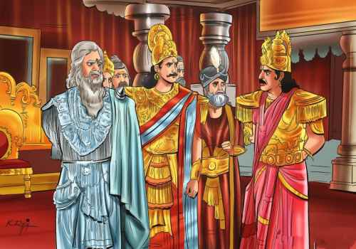duryodhana and bhishma thinking what to do about duryodhana's daughter's kidnapping
