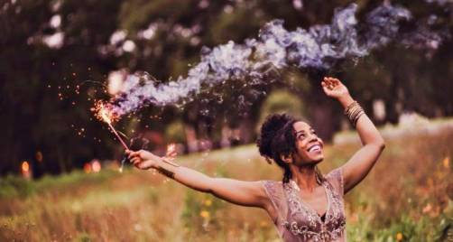 carefree happy woman