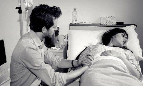 man taking care of a woman
