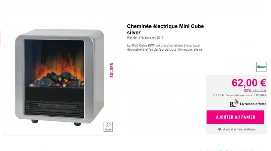 Promo Cheminee Electrique Cube Avec Effet Feu De Bois A Seulement 62 Euros