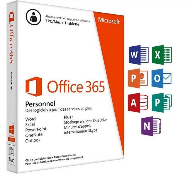 Office 365 Personnel 1 An 1 PCMac 1 Tablette 3999
