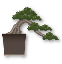 Han de estilo bonsai Kengai, semi cascada