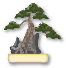 Joju estilo de bonsái, raíces roca encendido