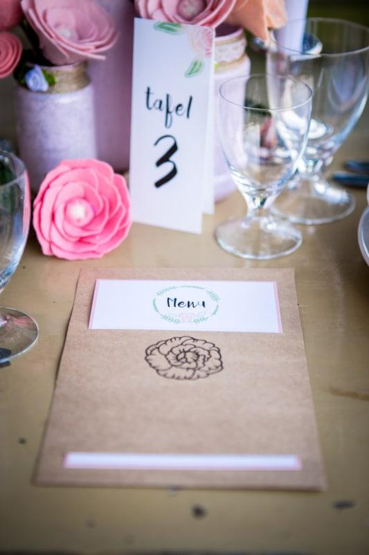 menukaart bruiloft