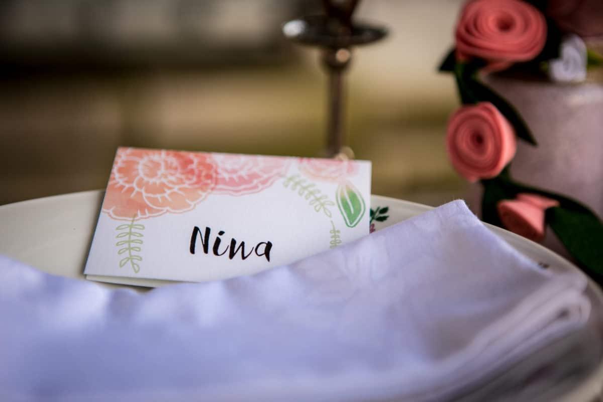 naambordje bruiloft