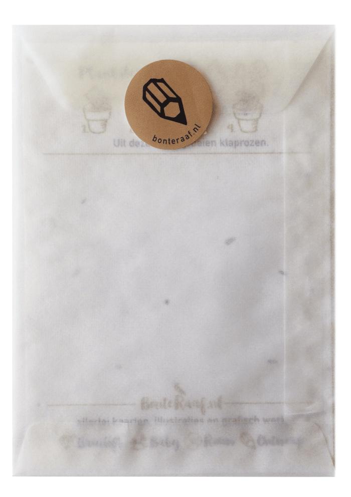 Passend bij de groeikaart leveren wij een pergamijn envelop met sluitsticker