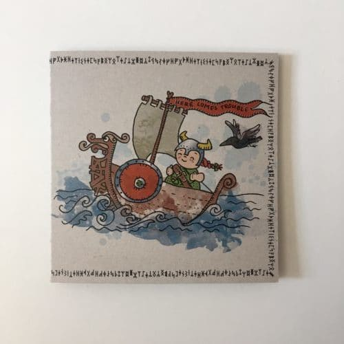 geboortekaartje illustratie viking