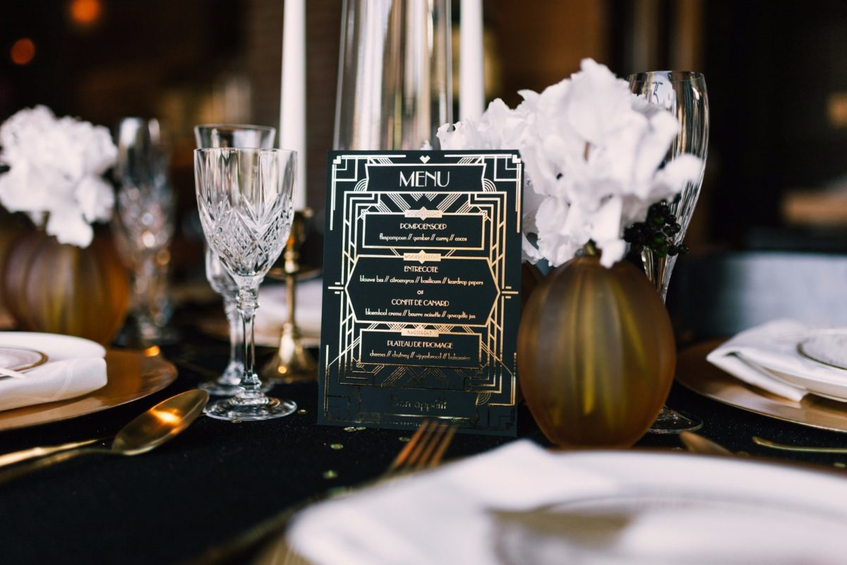 Great Gatsby wedding menu