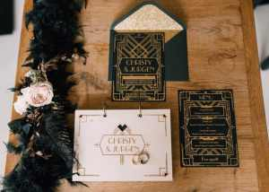 Great Gatsby wedding uitnodiging, gastenboek en menu