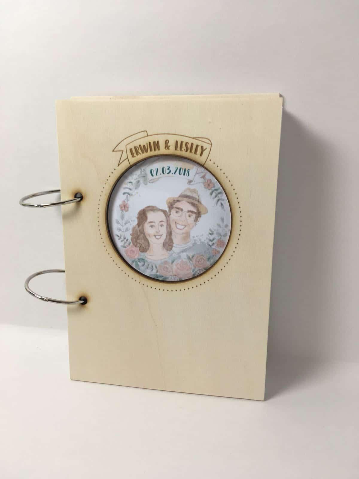 illustratie portret bruidspaar gastenboek