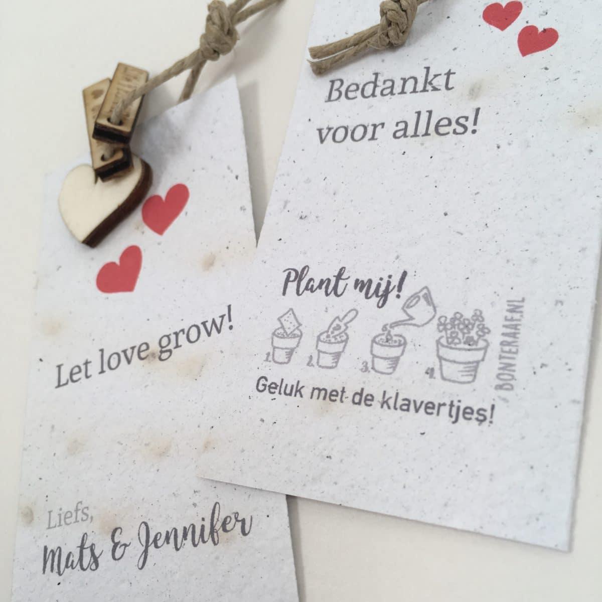 trouwbedankje huwelijksbedankje groeibedankje bedankje groeipapier