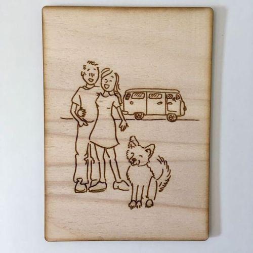 houten portretillustratie