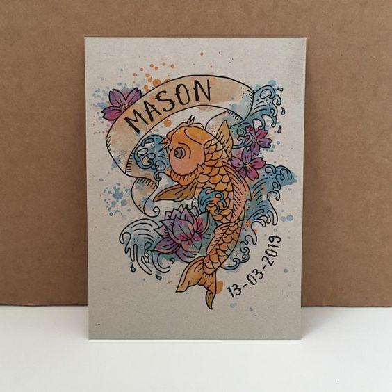 Geboortekaartje tattoo style Mason
