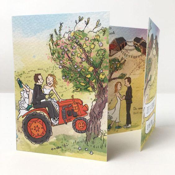 trouwkaart portretillustratie