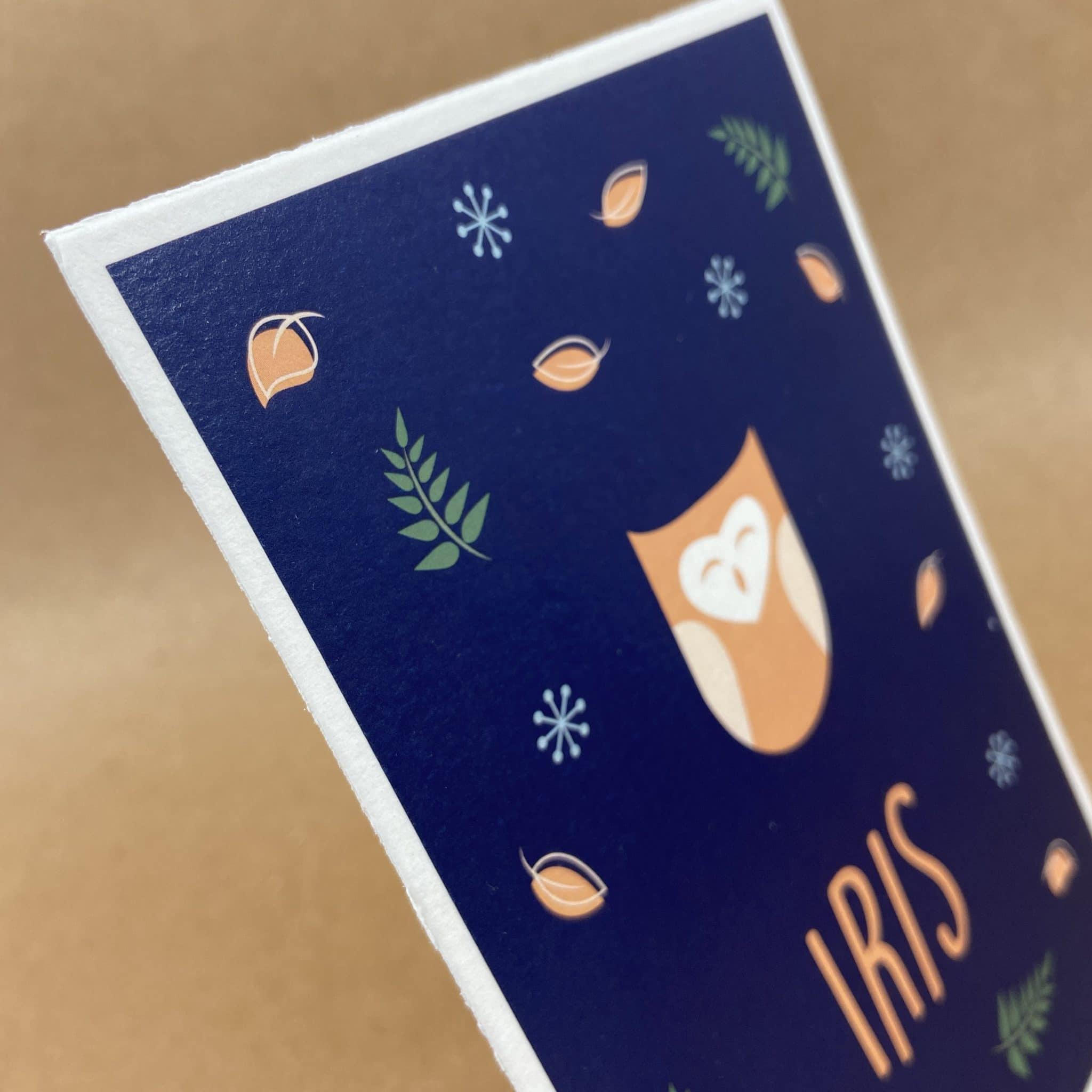 Geboortekaart Iris Hollands geschept