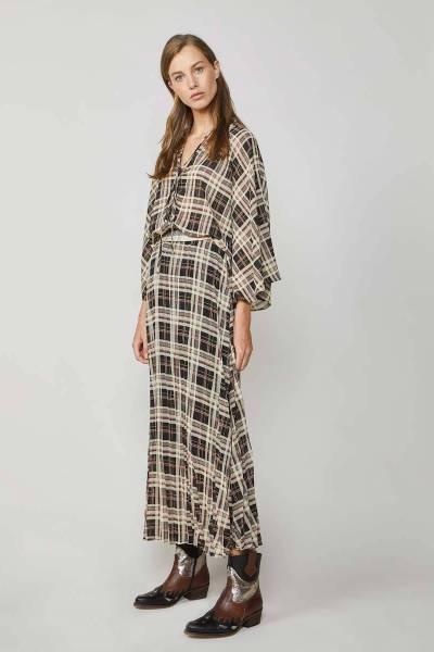 Skirt plisse check black Summum Woman