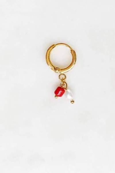 Earring red coral pearl By Nouck