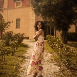 Palm rose dress ecru Mos Mosh