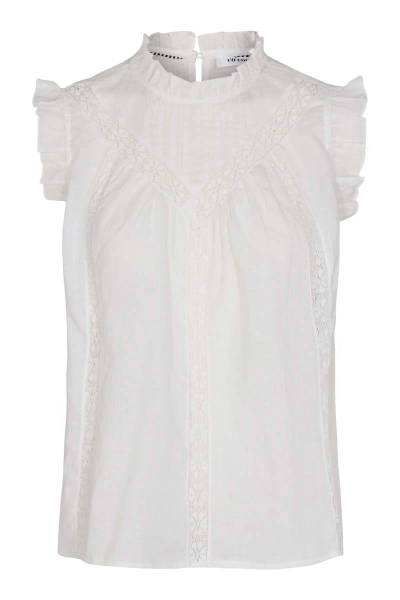 Lola linen frill top white Co'Couture