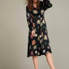 Flower love black satin dress Pom Amsterdam