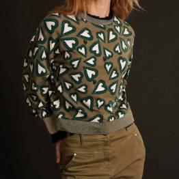 Heartbeat khaki green sweater Pom Amsterdam