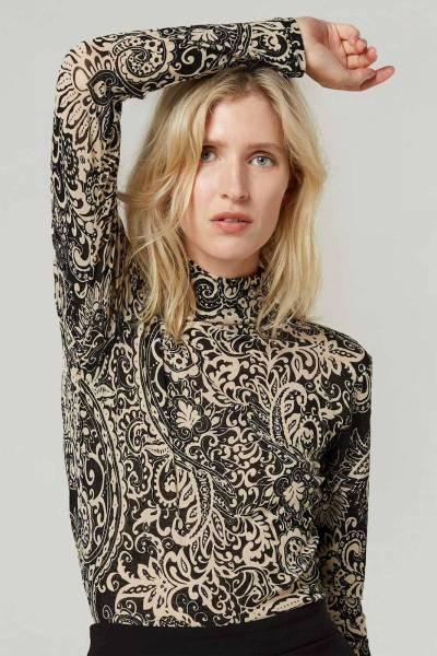 Mockneck top graphic paisley mesh black Summum