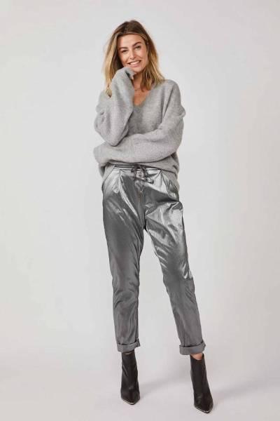 Trousers coated fabric smoke Summum
