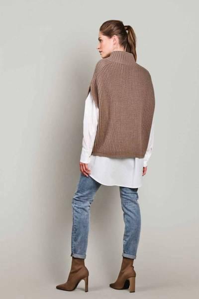 Sleeveless cable sweater wool dark taupe Summum