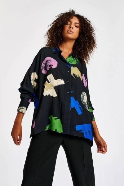 Authentic oversized shirt C1 army/navy Essentiel