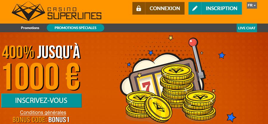 Casino Superlines bonus de bienvenue, promotion gratuite casino en ligne fiable