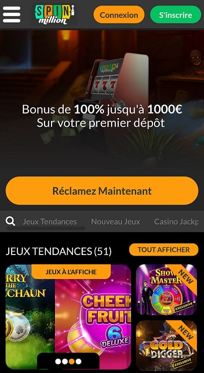 casino spin million app casino en ligne de confiance sur en France