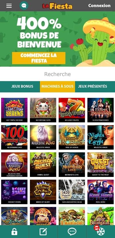 casinolafiesta jouez sur smartphone