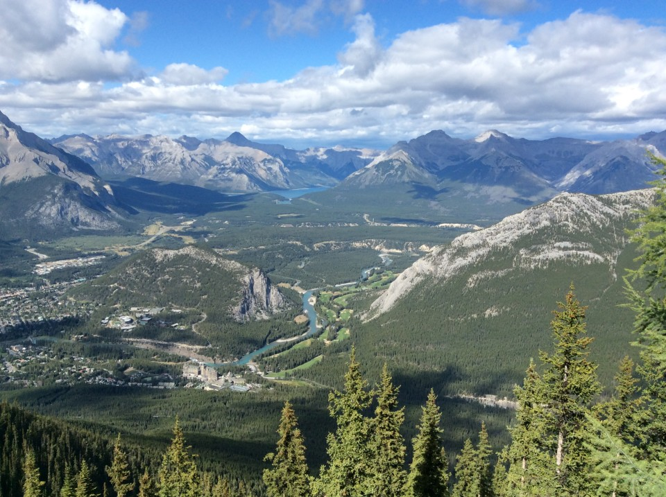 Rocky Mountaineer : view of Banff area from top of Sulphur Mountain