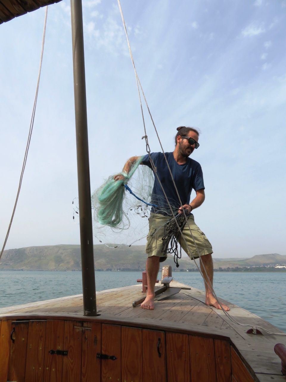 Favorite Israel Vacation Experiences : Throwing a fishing net into the Sea of Galilee