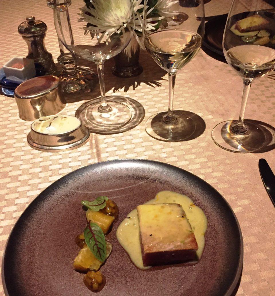 Ahi Thon au Poivre, naval orange supremes, naval orange mostarda, citrus sabayon sauce