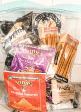 Traveling with kids big bag of snacks.