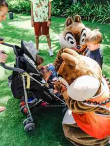 Chip and Dale at Aulani greeting children